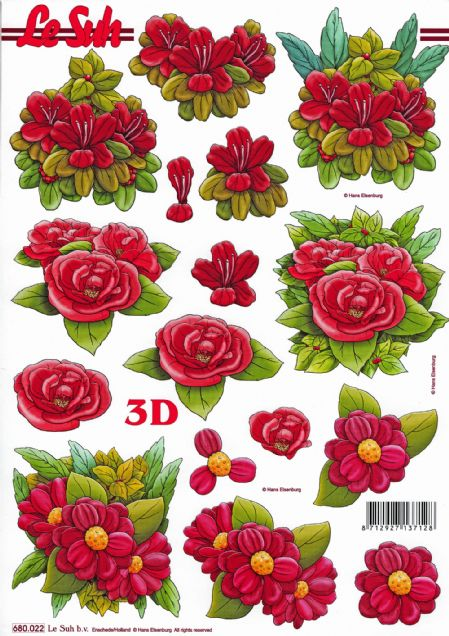 Red Flowers Die Cut 3d Decoupage Sheet - NO CUTTING